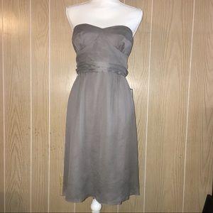 J Crew Gray Silk Strapless Cocktail Dress Size 12